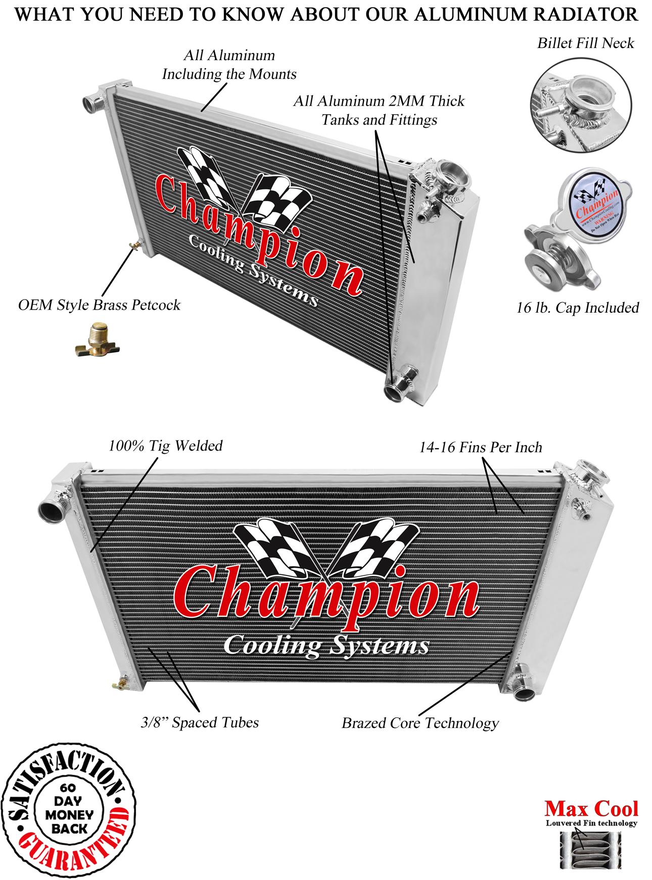 "2 Row 1/"" Western Champion Radiator 17/""x28/"" Core for 1968-1977 Chevy El Camino"
