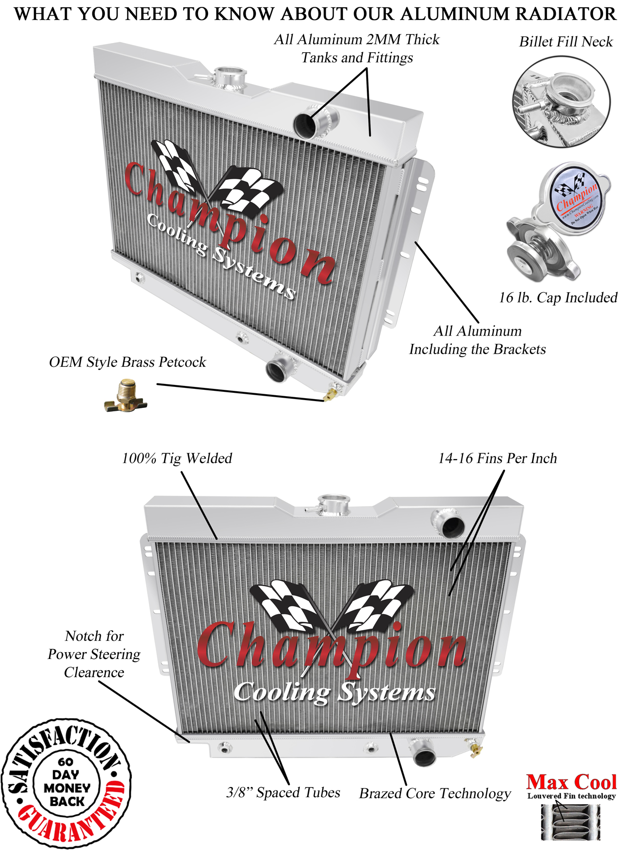 3 Row Jamn Champion Radiator  Ps Notched  For 1959 60 61