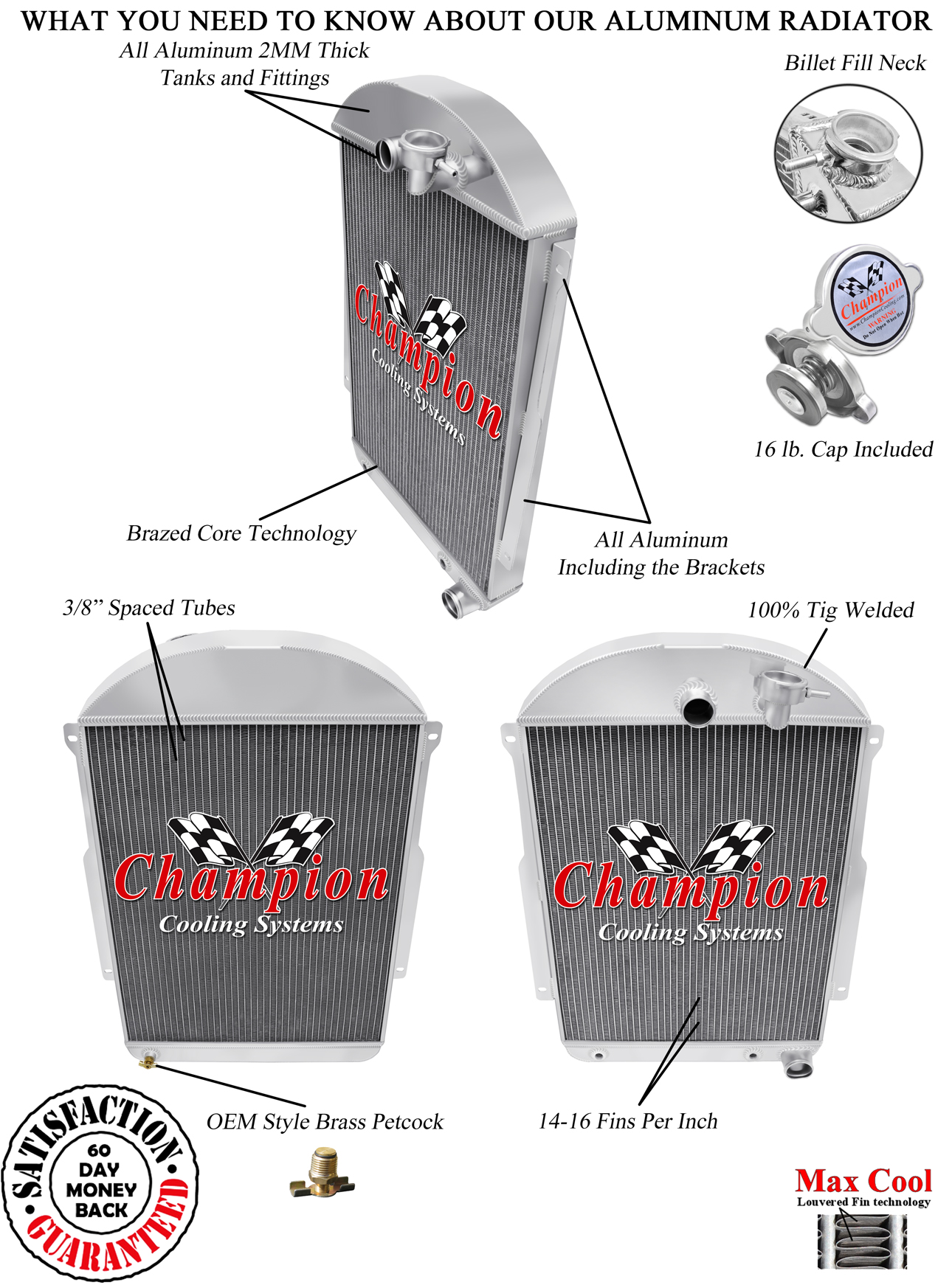 Chevy V8 1962 1963 1964 1965 Chevy Nova 3 Row Aluminum Champion WR Radiator