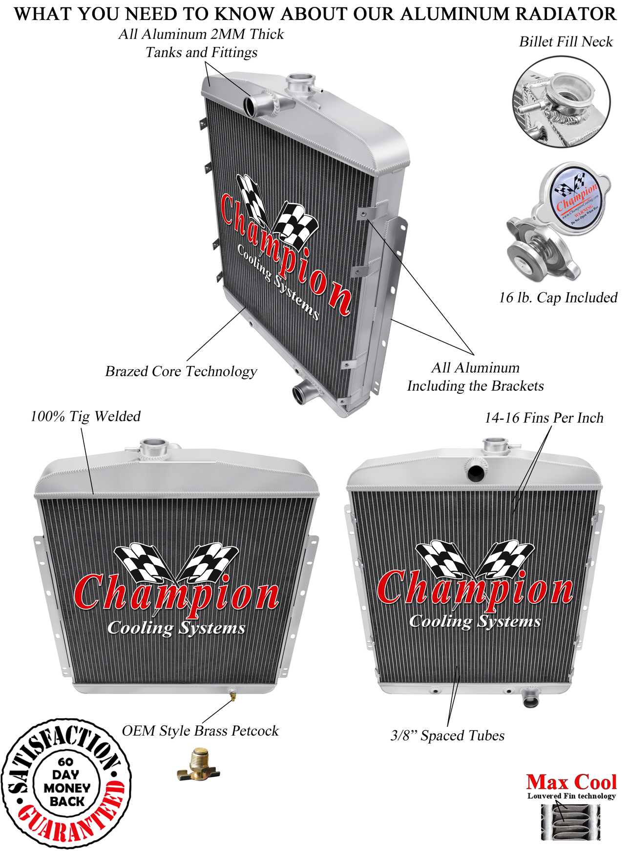 3 Row Champion DR Radiator For 66-69 Dodge Charger
