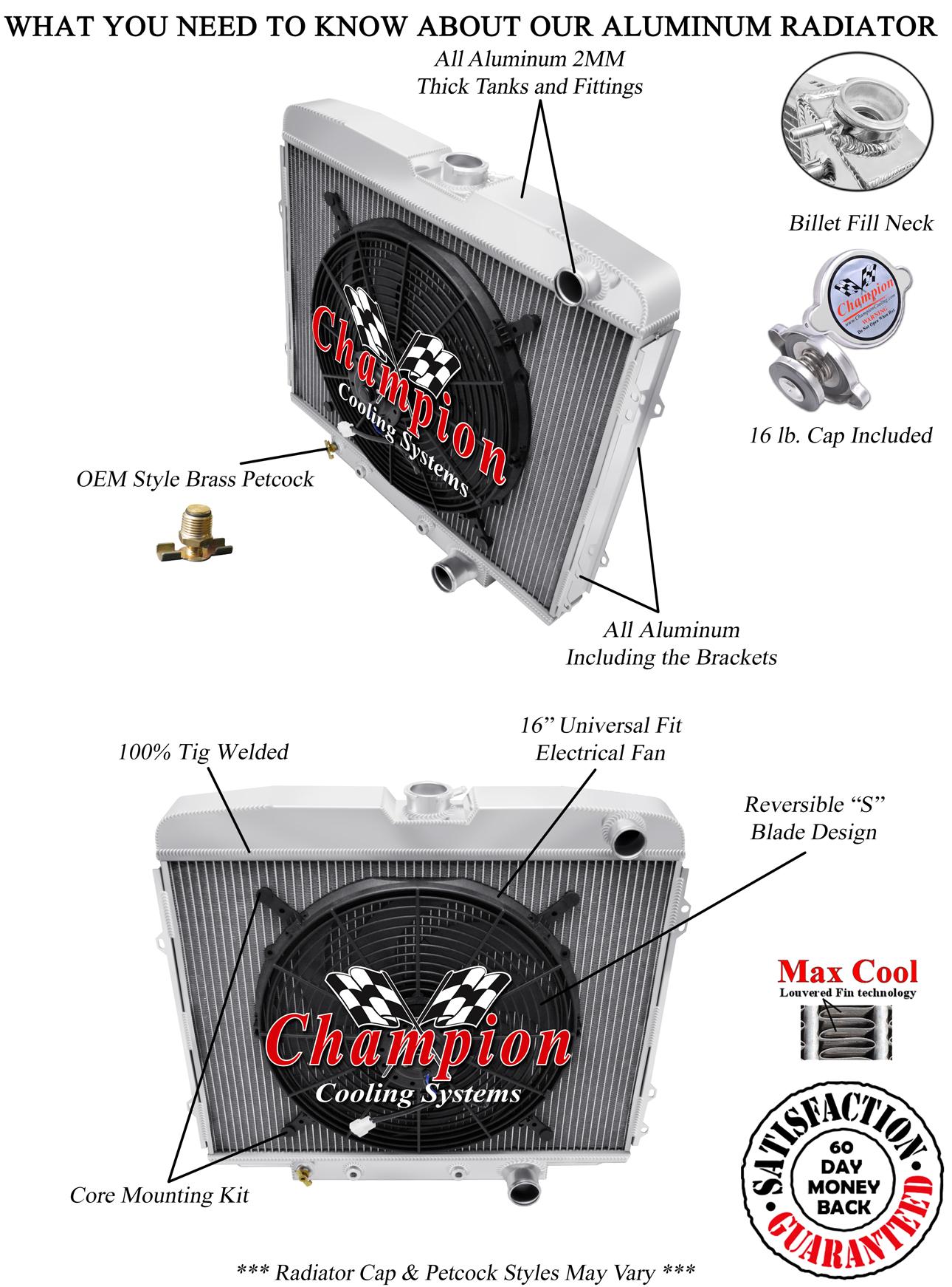 "1955 1956 1957 Ford Thunderbird 3 Row Aluminum Champion SR Radiator w// 16/"" Fan"