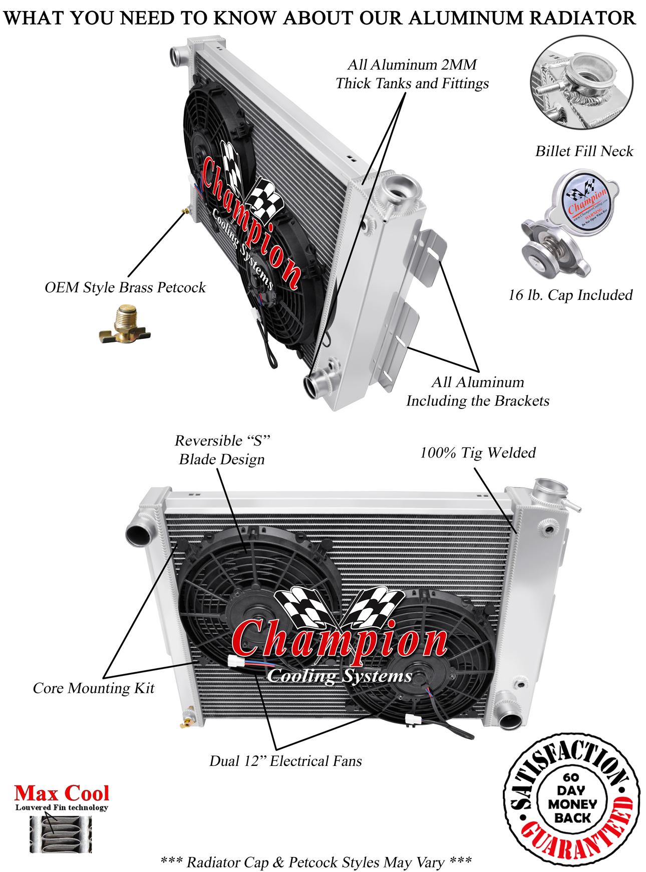 1967-1969 Camaro Small Block All Alum 3 Row KR Champion Radiator Fan Combo