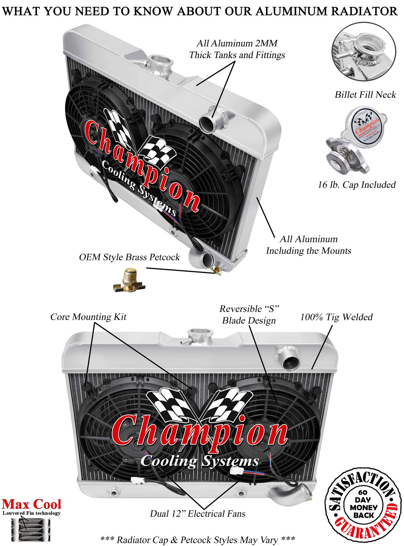 3 Row Dr Champion Radiator W   2 12 U0026quot  Fans For 1962 1963