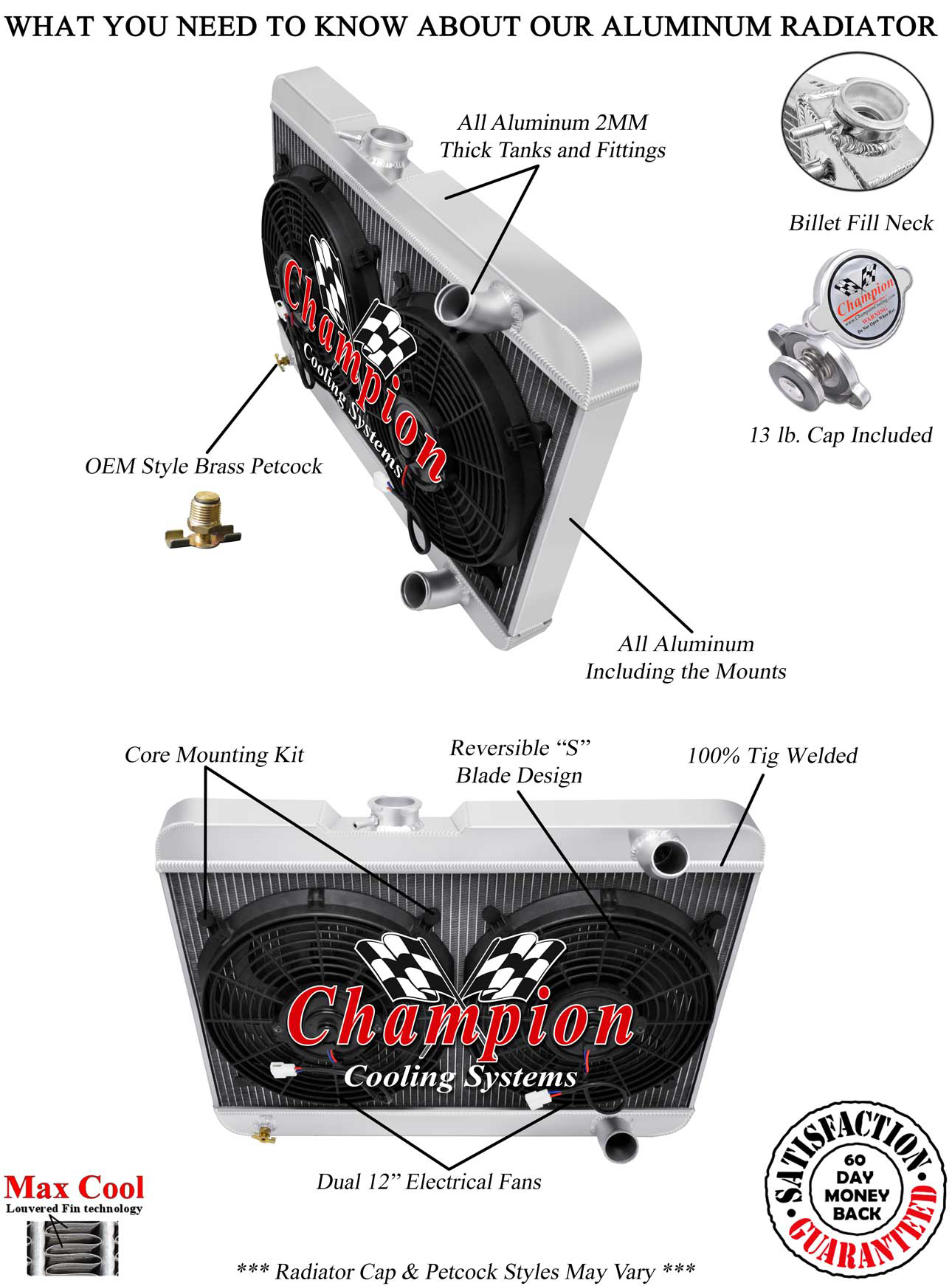 3 Row Perf Champion Radiator W   2 12 U0026quot  Fans For 1963