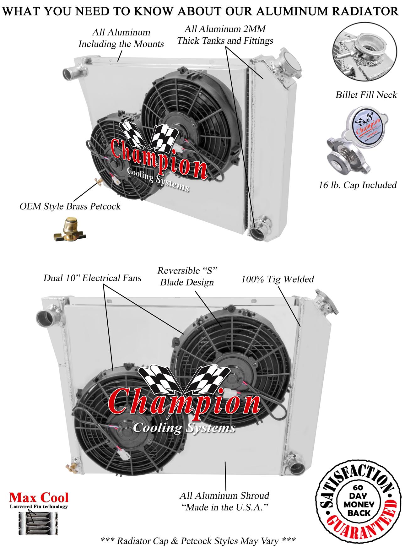 1975 76 77 78 79 Chevy Nova 3 Row Champion Aluminum Radiator Fan Combo