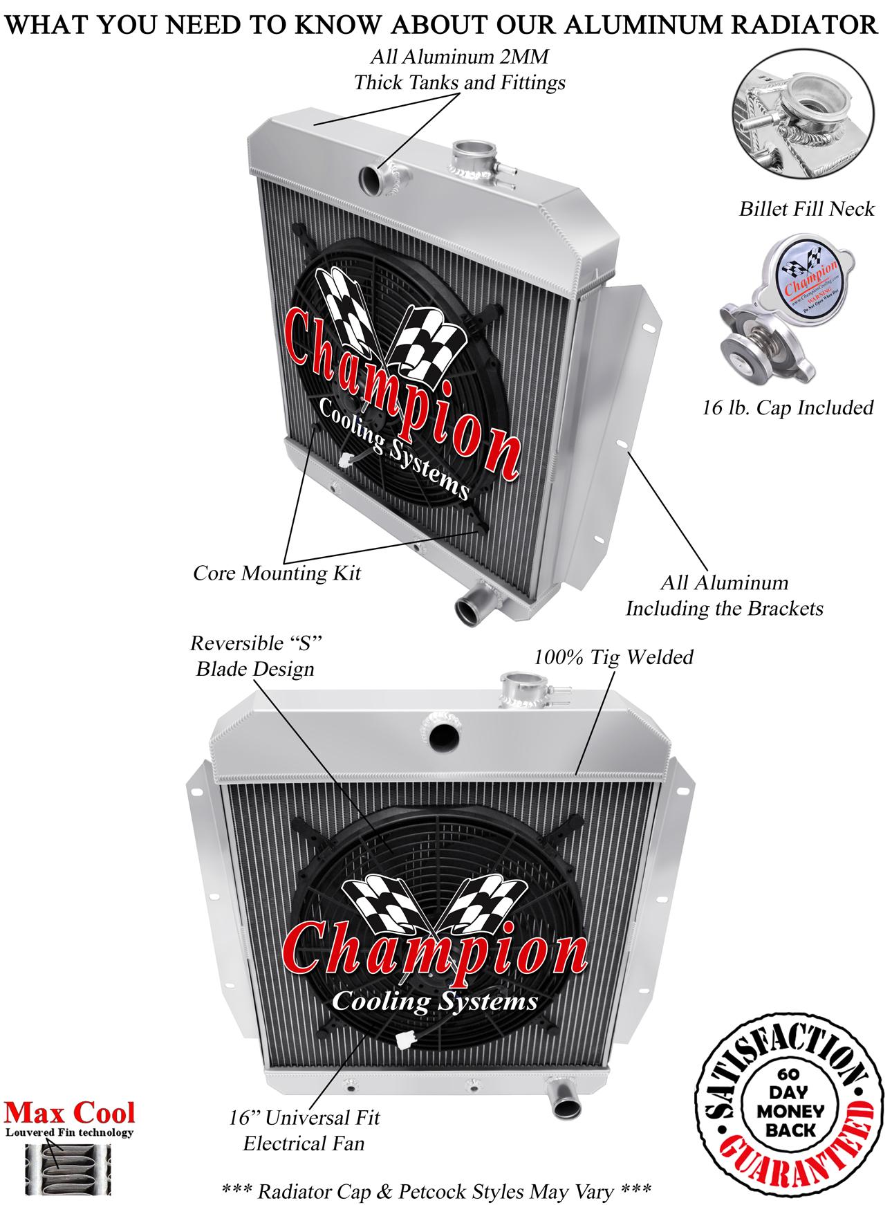 1955 1956 1957 1958 1959 Chevy Truck Radiator + 16